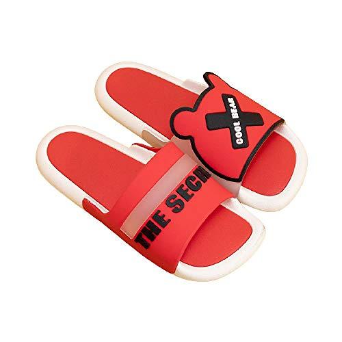 XZDNYDHGX Zapatos De Ducha Antideslizantes,Sandalias de baño de Alfabeto de Dibujos Animados para Interiores de Verano para Mujer, Zapatillas de Deslizamiento para Hombre Rojo EU 36-37