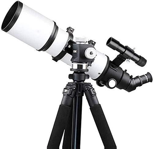 Reflector profesional Telescopio refractor de 80 mm con alcance del trípode y del buscador, con visión de noche de baja luz, duradero, con adaptador de teléfono inteligente, mochila y filtro de luna ,