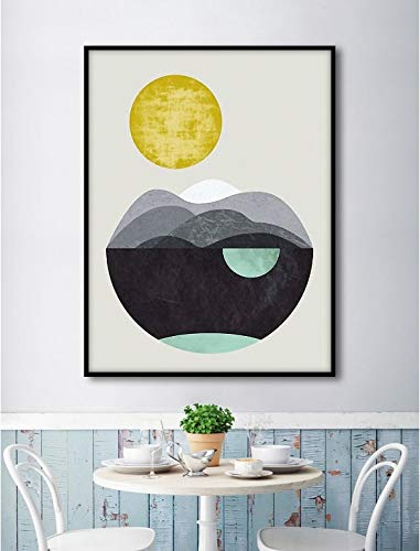 YuanMinglu Abstrakte Grafik Leinwand Malerei Mond Landschaft See Modulare Bild Leinwand Wandbild Wohnzimmer Dekoration Rahmenlose 60x80 cm