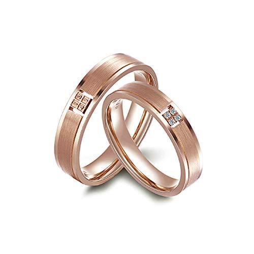 Bishilin Anillos de Promesa para Él y para Ella 18K Oro Rosa Mujer Talla 12 & Hombre Talla 18,5 Números de Forma Redonda Diamante Anillos de Compromiso de Alianza de Boda de Aniversario Oro Rosa
