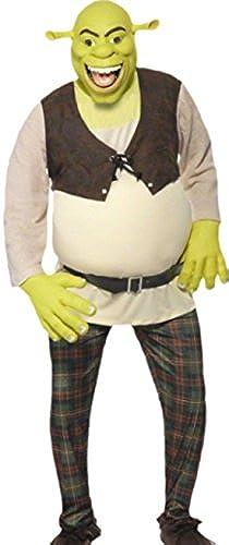 Fancy Ole - Herren M er Kostüm Shrek mit Top, Hose, Handschuhen und Maske, L, Grün-braun