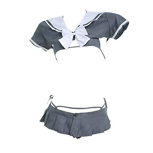 YOMORIO Japanese Schoolgirl Uniform Sexy Anime Cosplay Bikini Underwear with Mini Shirt and Pleated Skirt