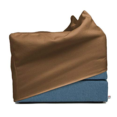 Arketicom Italian Faltmatratze TOUF, The Bed That Becomes a Puff, Blue Jeans Fabric Base and External Cover Hemp Beige 80x63x45 cm Artisans Italian Product 100% Hand Made