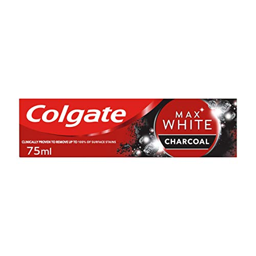Colgate Tandkräm Max White Charcoal, Fluorbaserad Formula som Skyddar mot Karies och tar Bort Fläckar för Vitare Tänder – 75ml