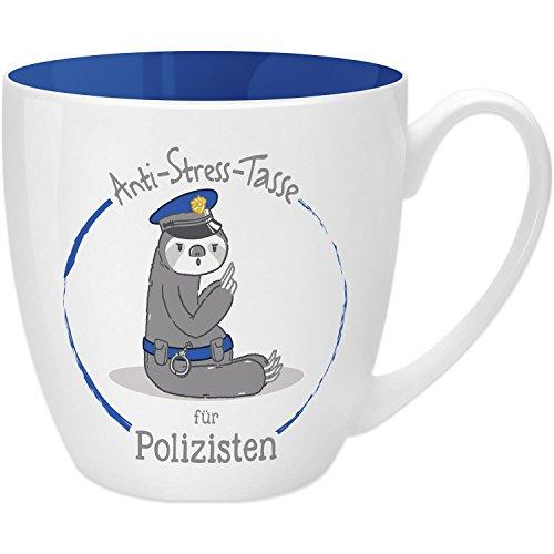 Gruss & Co 45498 Anti-Stress Tasse für Polizisten, 45 cl, Geschenk, New Bone China, Blau, 9.5 cm