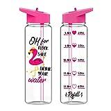 miuse Trinkflasche Sport 720ml, BPA-Frei Cartoon Muster Kunststoff Strohbecher mit Deckel Große Kapazität Breite Mund Trinkflasche für Kinder, Mädchen, Schule, Sport, Wandern, Camping(Flamingo)