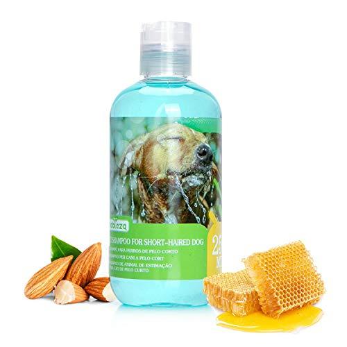 Nobleza Hundeshampoo kurzhaar - Enthält Aminsäure, fördert das Haarwachstum und verhindert Haarausfall, Hunde Shampoo kurzes Fell Pflege mit Mandel-Honig Duft 250ml