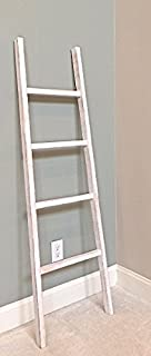 "Whitewashed Rustic, Tapered, Decorative Wood Ladder – Extra Wide for Towel/Blanket Ladder/Versatile Décor Piece. 58"" H x 18.5"" W x 1.75"" D. 100% Handmade in U.S.A."