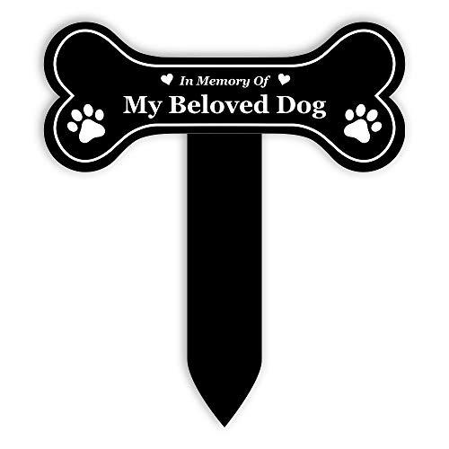 OriginDesigned - Estaca conmemorativa de perro grande – Placa grabada, impermeable, marcador de tumba, jardín (negro)