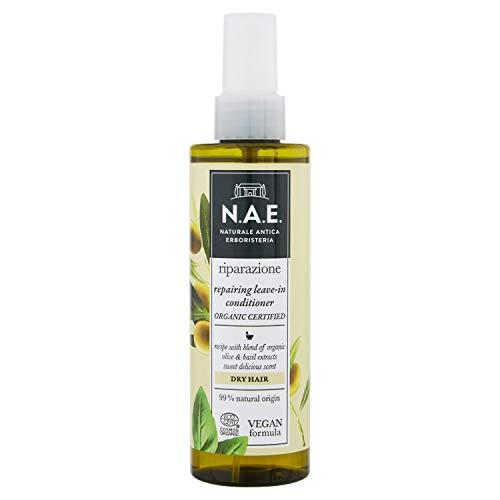 N.A.E. Spray Districante per Capelli Secchi Riparazione, Balsamo Leave-In con Olio di Oliva Biologico e Basilico, Formula Vegana, 200 ml