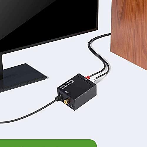 Yuyanshop Convertidor de audio digital a analógico digital óptico SPDIF/Toslink y RCA convertidor de audio estéreo con fibra