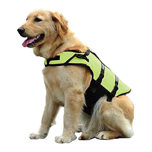 HZQIFEI Chaleco Salvavidas para Perros, Chaleco Seguridad Natación Reflectante Ajustable con Mango para Perros Pequeños, Medianos y Grandes (Verde, M)