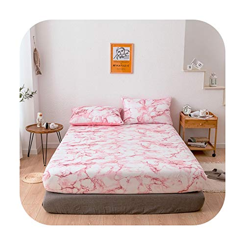 Bedspread 2019 New Mattress Pad Anti Mites Marble Pattern Mattress Cover Bed Cover Slip Dirty Bed Sheet Bed Bug Proof Bedding Protector-03-153X203X40Cm