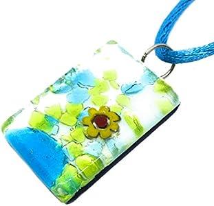 Regalos para las mujeres regalos para las mujeres–colgante de cristal de Murano–Millefiori en hoja de plata de 3cm x 2cm–incluye caja de regalo y certificado (Camilla)