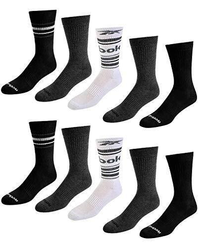 Reebok Men's Athletic Performance Cushion Crew Socks With Moisture Control (10 Pack) (Shoe Size: 6-12.5, Black/White/Grey)