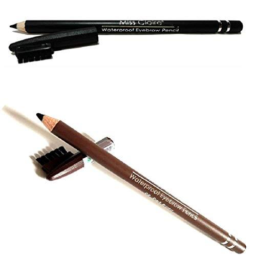 Miss Claire WaterProof Eyebrow Pencil with Brush (Black, Dark Brown)