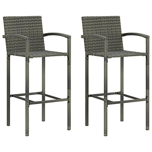vidaXL 2x Bar Stools Furniture Outdoor Garden Pub Bistro Cafe Counter Bar Chair Armchair Kitchen Dining Room Stool Grey Poly Rattan