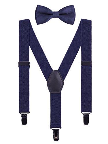 WANYING Kinder Baby Hosenträger Fliege Set 1-5 Jahre Jungen Mädchen 3 Schwarz Clips Y-Form Elastisch Hosenträger für Kleinkind - Marineblau