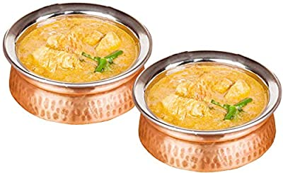 Set of 2 - Copper Stainless Steel Tableware - Dishes Serving Bowl for Indian Food - Dia 5 Inches