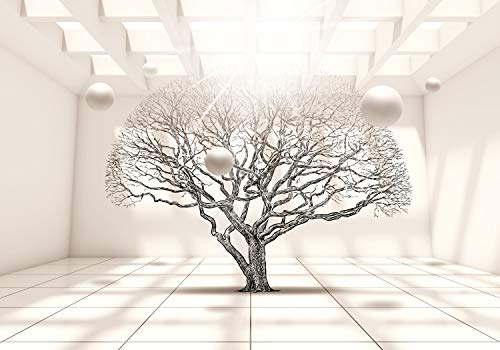 decomonkey Fototapete Abstrakt Baum 350x256 cm XL Tapete Fototapeten Vlies Tapeten Vliestapete Wandtapete moderne Wandbild Wand Schlafzimmer Wohnzimmer 3d Effekt Kugeln Architektur