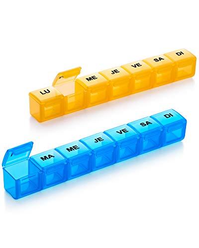 Pilulier Semainier Français, Pilulier 7 Jours mit 14 Compartiments, Pilulier Pillbox Pilulier Hebdomadaire - 2 pièces (Bleu + Jaune)