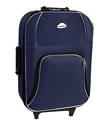 Vetrineinrete Valigia trolley con ruote per viaggi vancanze bagaglio a mano con cerniere manico e lucchetto combinazione blocca zip 55 x 20 x 36 vari colori (Blu) F52