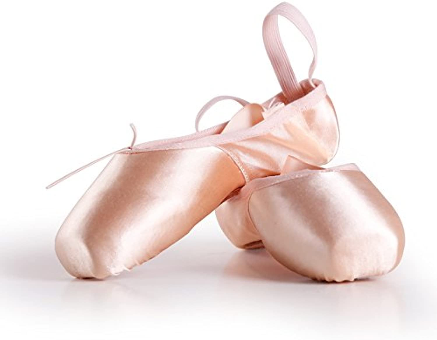 YJiaJu Professional Ballet Pointe shoes, Ballroom Satin Upper with Ribbon Pink Professional Ballet shoes for Girls Women