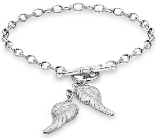 Tuscany Silver Sterling Silver Angle Wings Charms T-Bar Bracelet of 19cm/7.5'