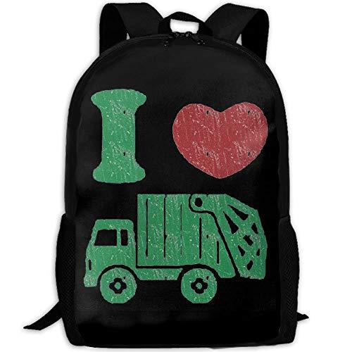 I Love Trash Garbage Trucks Interest Print Custom Unique Casual Backpack School Bag Travel Daypack Gift