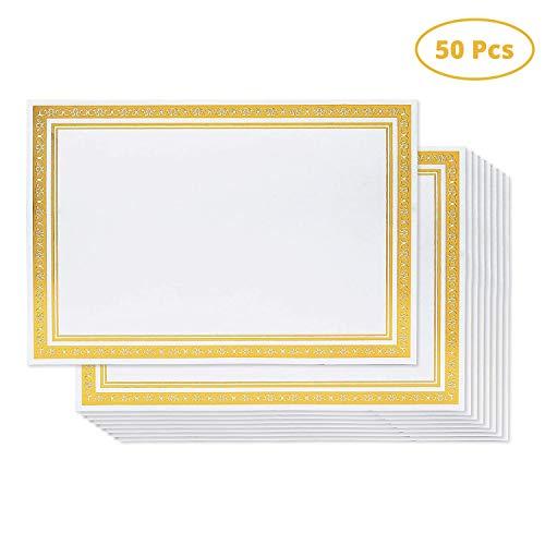 Belle Vous Urkunden Papier (50 Stück) - A4 180GSM Unkundenpapier mit Goldenen Folien Bordüre - Passend für Laserjet Druckerin, Zeremonie, Zertifikat, Awards, für Horizontale und Vertikale Verwenden