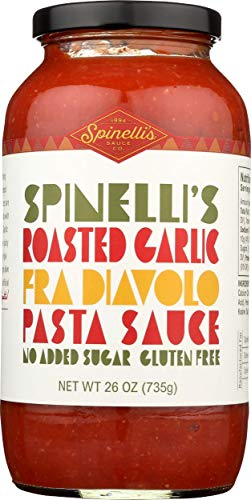 Spinelli's Gourmet Pasta Sauce Kit (2 JARS-Spicy Roasted Garlic fra Diavolo) All natural, Healthy, No Preservatives, Gluten Free, Vegan, Best Authentic Italian, No Added Sugar, Ripe Real Tomatoes