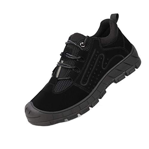 WYNZYTK WY Breathable Sicherheitsschuhe Männer Mit Stahlkappe Schuhe Pannensichere Arbeitsstiefel Männer Arbeitsschuhe Verschleißfeste Wanderschuhe (Color : D(Black Mesh), Size : 8)