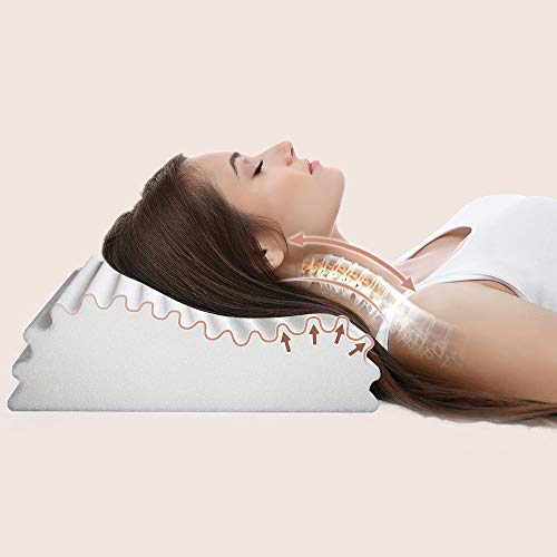 Swilow Queen Memory Foam Pillow for Side Sleeper, Cervical Contour Pillow for Neck Pain, Orthopedic Neck Support Pillow Chiropractic Ergonomic Pillow Sleeping with Free Pillowcase (Firm, Queen Size)