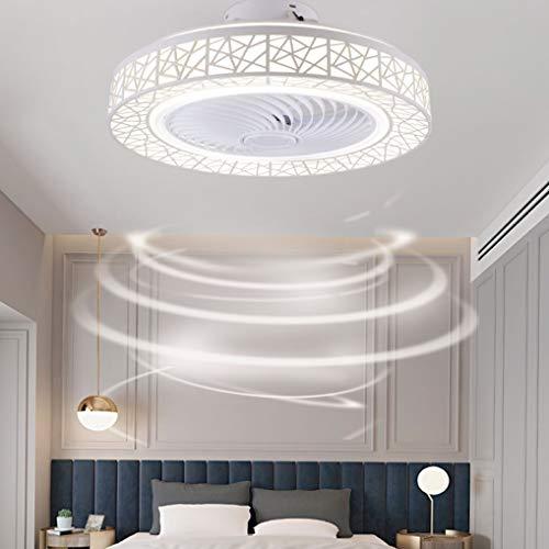 LANMOU LED Ventilador de Techo con Luz y Control Remoto, Invisible Ventilador de Techo Silencioso Sala de Estar Dormitorio Habitación Infantil Comedor Moderno Lámpara de Techo LED Regulable (Blanco)