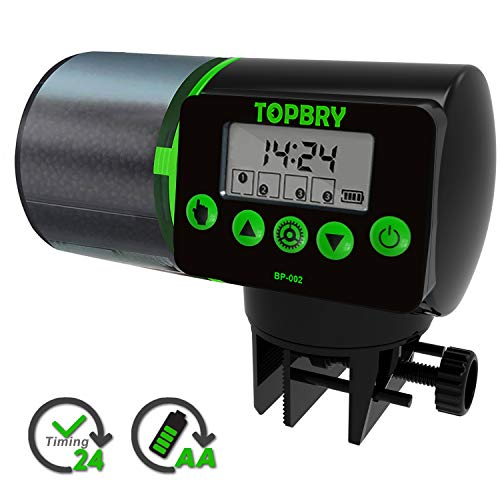 TOPBRY Automatic Fish Feeder, Digital Auto Fish Turtle Feeder for Aquarium and Fish Tank, Timer Fish Feeder Fish Food Dispenser (Black)