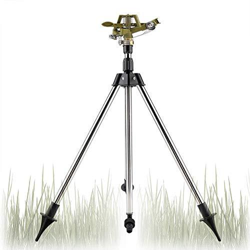 Bewässerungs Set Teleskop Stativ Edelstahl Sprinkler grün Impulsregner Kreisregner 360° verstellbar Zink Bewässerung Sprüher drehbar Bewässerungsgerät für Garten Rasen