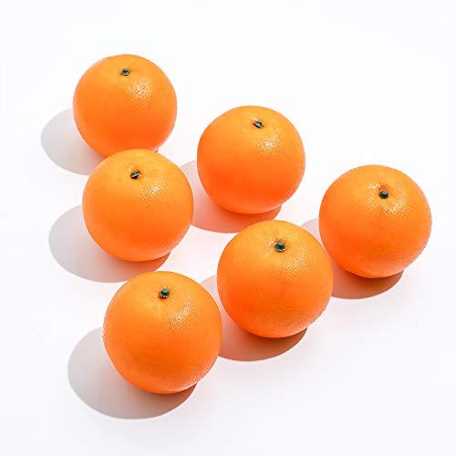 Veryhome 6 Piezas de Frutas Artificiales Naranjas de plástico para casa, Cocina, decoración de Fiestas, Festivales, exhibición Realista, Naranja, 6 Unidades