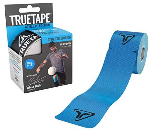 TRUETAPE® - Kinesiotape vorgeschnitten, Vergleichssieger, 20 Streifen Kinesiologie Tape, Wasserfest, inkl. +50 Anleitungen, Blau