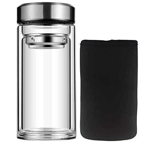 Botellas de agua de cristal Chichengnian botella de borosilicato grande botella de agua transparente 1000 ml/500 ml botella deportiva con funda de neopreno y botellas de agua de vidrio (500 ml)