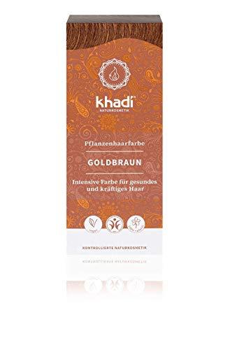 KHADI - Tinta Vegetale in Polvere Castano Dorato - 100% Naturale - Per tutti i tipi di capelli - Rinforzante e Nutriente - Certificato BDIH - Vegan - 100 gr