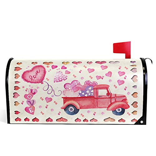 Pfrewn Valentine Pink Truck Heart Mailbox Cover Magnetic Standard Size Love Be Mine Letter Post Box Cover Wrap Decoration Welcome Home Garden Outdoor 21' Lx 18' W
