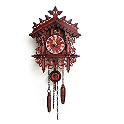 ZMYLOVE Vintage Cuckoo Clock, Black Forest Chalet Clock Hand-Carved Wood Wall Clocks with Stereo Swing for Room Study Bedroom Decorative Quartz Clock