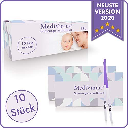 MediVinius 10x, 20x oder 50x Schwangerschaftstest mit schnellem Ergebnis in unter 5 Minuten I Zuverlässige Pregnancy Test Strips I Frühtest, Hcg Test - 10 Stück