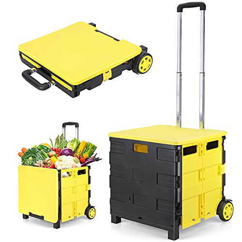LEHOM Folding Shopping Cart with Wheels, Utility Rolling Crate Heavy...