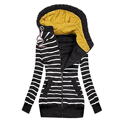Sunggoko Sudadera con capucha para mujer, para otoño/invierno, informal, a rayas, con cremallera y bolsillo, a cuadros, tamaño grande, 01-negro, S