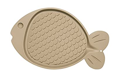 Loving Pets Bella Spill-Proof Fish-Shaped Mat for Cats,Tan
