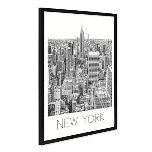 PHOTOLINI Poster mit Bilderrahmen Schwarz \'New York\' 40x50 cm schwarz-Weiss Motiv Zeichnung Manhatten Skyline