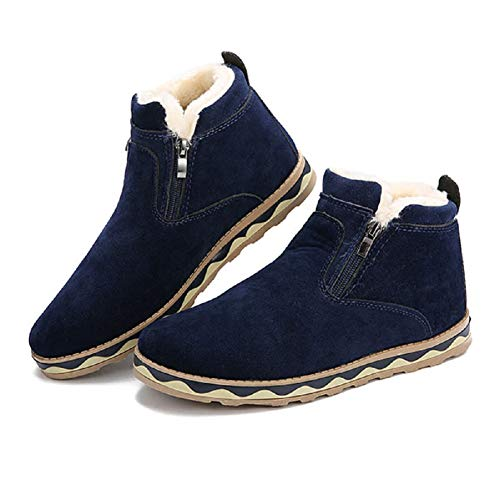 Men's Boots,Gracosy British Style Suede Flat Platform Shoes Plus Velvet Winter Male Lace Up Cotton Snow Boots Blue 6.5 D(M)US