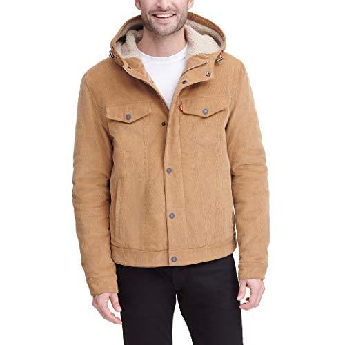 Levi's Men's Corduroy Sherpa Hooded Trucker Jacket, Light Tan, Medium