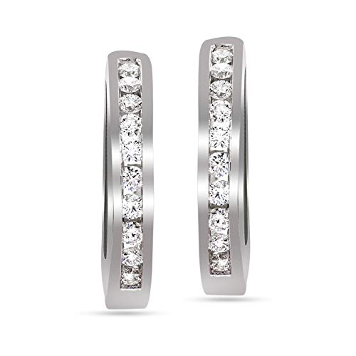 Valentines Day Gifts Lab Grown Diamond Earrings 3/8 Carat Huggie Hoop Earring Diamond Stud Earrings For Women 14K White Gold GH-VSSI Quality Diamond Earring Gifts for Her